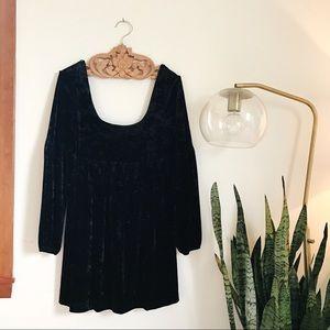 Black Crush Velvet Scoop Neck  Dress